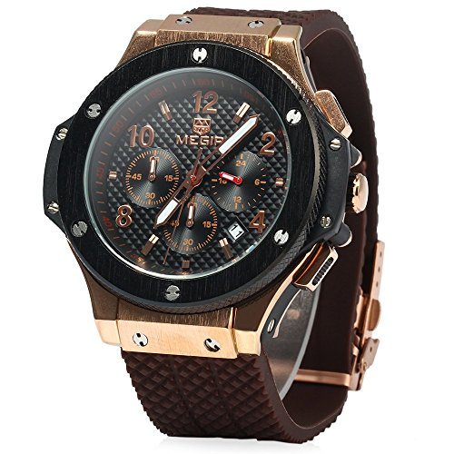 Leopard Shop Megir Herren Quarzuhr Licht 30 m Wasserdicht braunes Armband Schwarz Gold