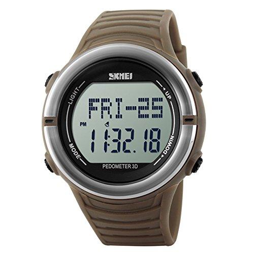 Leopard Shop SKMEI Sports Digitale Armbanduhr mit Schrittzaehler Funktion Herzfrequenz wasserabweisend Erdige