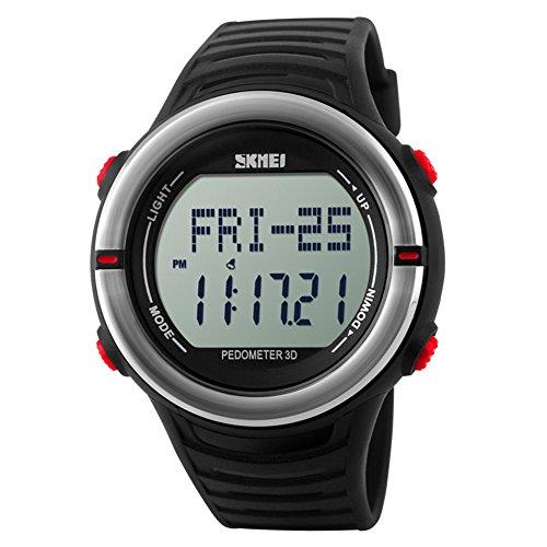 Leopard Shop SKMEI Sports Digitale Armbanduhr mit Schrittzaehler Funktion Herzfrequenz wasserabweisend rot