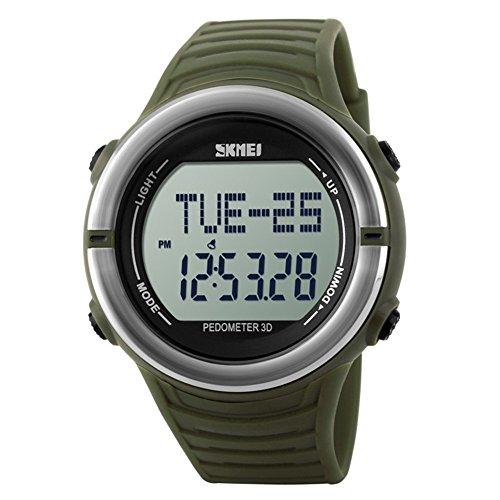 Leopard Shop SKMEI Sports Digitale Armbanduhr mit Schrittzaehler Funktion Herzfrequenz wasserabweisend Armee Gruen