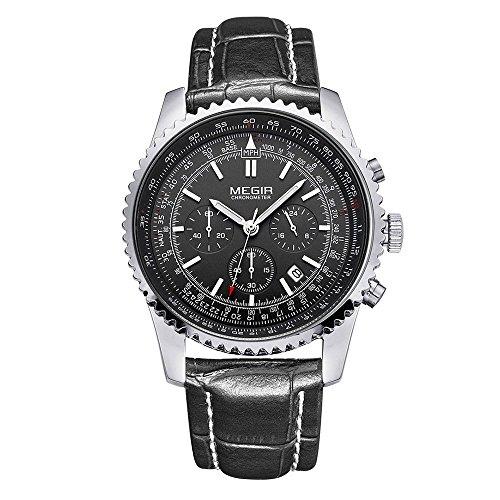 Leopard Shop megir Stecker Japan Datum Display wasserabweisend schwarz Leder Silber Schwarz
