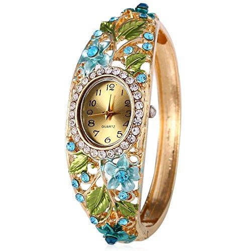 Leopard Shop weiblich Quarzuhr Kuenstliche Diamond Garden Style Hohl Blumen Armband Armbanduhr 3