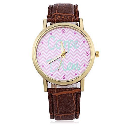 Leopard Shop weiblich Quarzuhr Zifferblatt Luminous Wave Muster Pointer Leder Strap Armbanduhr Braun