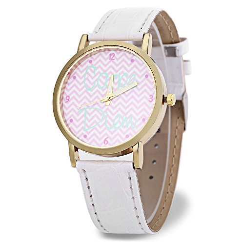 Leopard Shop weiblich Quarzuhr Zifferblatt Luminous Wave Muster Pointer Lederband Armbanduhr Weiss