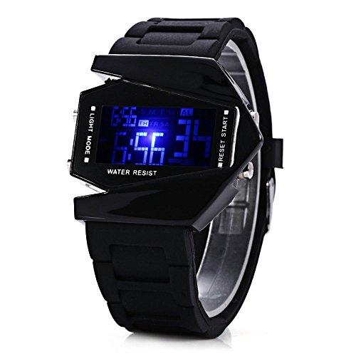 Leopard Shop Zifferblatt LED Uhr mit Woche Stoppuhr Gummi Armband Flugzeug Form schwarz