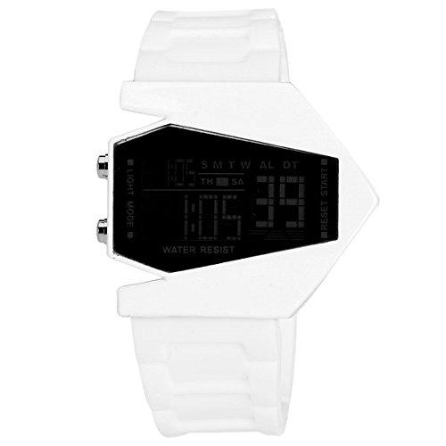 Leopard Shop Zifferblatt LED Uhr mit Woche Stoppuhr Gummi Armband Flugzeug Form Weiss
