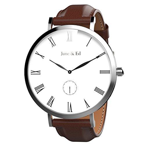 June Ed Quarz Armbanduhr Edelstahl Herrenuhr Armband mit Saphir Kristall waehlen Fenster W 0050