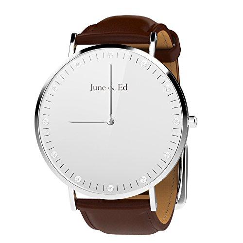 June Ed Quarz Armbanduhr Edelstahl Herrenuhr Armband mit Saphir Kristall waehlen Fenster W 0040