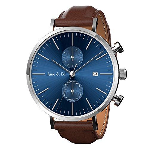June Ed Quarz Armbanduhr Edelstahl Herrenuhr Armband mit Saphir Kristall waehlen Fenster Blau W 0021