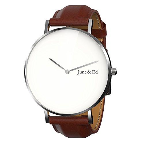 June Ed Quarz Armbanduhr Edelstahl Herrenuhr Armband mit Saphir Kristall waehlen Fenster W 0030