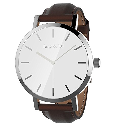 June Ed Quarz Armbanduhr Herren Uhr Classic Edelstahl Leder braun mit Saphir Kristall waehlen Fenster Silber W 0011