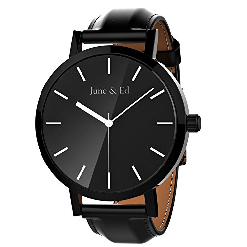 June Ed Quarz Armbanduhr Herren Uhr Classic Edelstahl Leder schwarz mit Saphir Kristall waehlen Fenster W 0010