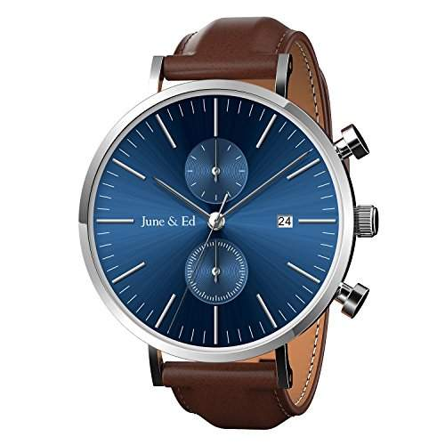 June Ed Edelstahl Armband mit Saphir Kristall waehlen Fenster Blau W 0021