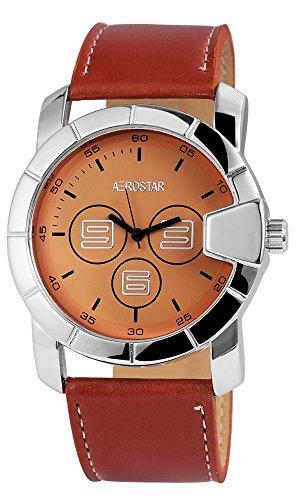 Aerostar Herren analog Armbanduhr mit Kunstleder Armband 211027500009