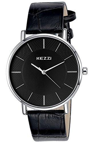 INWET Mode Herren und Damen Quarz Armbanduhr Einfach Schwarz Zifferblatt Leder Armband