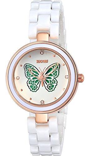 INWET Weiss Keramik Armband Armbanduhr fuer Damen 3D Schmetterling Zifferblatt Elegante Kristall Uhr
