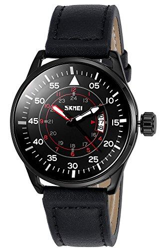 INWET Mode Herren Schwarz Zifferblatt mit Datum Kalender Leder Armband