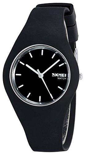 INWET Herren und Damen Schwarz Zifferblatt und Silikon Armband