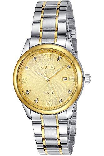 INWET Herren Golden Zifferblatt Analoge Anzeigen Eingelegter Kristall Edelstahl Armband Datum Kalender