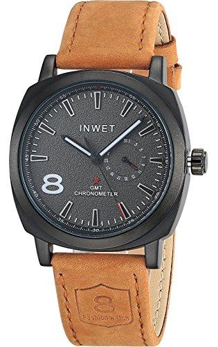 INWET Mode Herren Quarz Armbunduhr Schwarz Zifferblatt mit Datum Kalender Braun Leder Armband