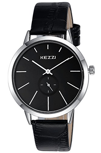 INWET Mode Herren und Damen Quarz Armbanduhr Schwarz Zifferblatt Leder Armband