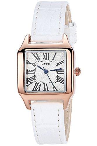 INWET Mode Damen Quarz Armbanduhr Weiss Leder Armband Einfach Platz Zifferblatt