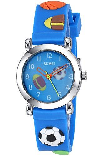 Inwet Kinder Quarz Armbanduhr Niedlich Karikatur Zifferblatt Blau Armbanduhr fuer Studenten Weich Silikon Armband