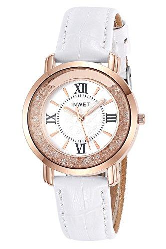 Inwet Bling Damen Quarz Armbanduhr mit Kristall Zifferblatt Analoge Anzeigen und Leder Armband