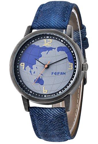 Inwet Retro Herren Quarz Armbanduhr Blau Weltkarte Zifferblatt Analoge Anzeigen Blau Leder Armband