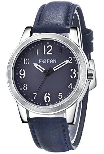 Inwet Mode Herren Blau Zifferblatt Analoge Anzeigen Blau Leder Armband