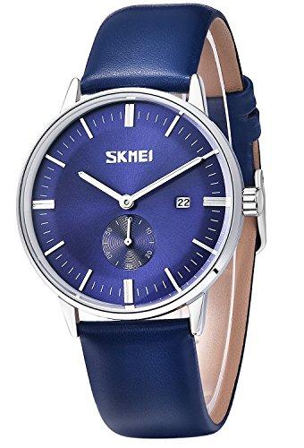 Inwet Herren mit Blau Zifferblatt Analoge Anzeigen und Blau Leder Armband Datum Anzeigen
