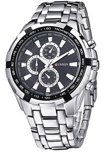 Inwet Herren Quarz Armbanduhr mit Schwarz Zifferblatt Analoge Anzeigen und Silber Edelstahl Armband