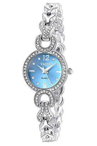 Inwet Strass Armbanduhr fuer Damen Blau Zifferblatt Analoge Anzeigen Edelstahl Armband