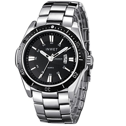 Inwet Mode Silber Herren Quarz Armbanduhr Schwarz Zifferblatt Analoge Anzeigen mit Datum Edelstahl Armband