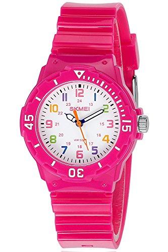 Inwet Kinder Weiss Zifferblatt mit Bunt Nummern Rose Armbanduhr fuer Studenten