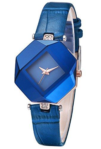 Inwet Distinctive Damen Quarz Armbanduhr mit Blau Rhombus Zifferblatt Analoge Anzeigen und Leder Armband
