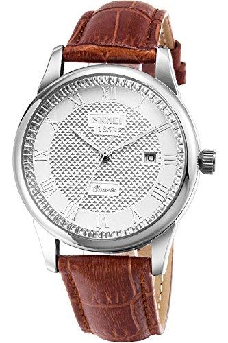 Inwet Klassiker Herren mit Silber Zifferblatt Analoge Anzeigen und Braun Leder Armband Include Datum