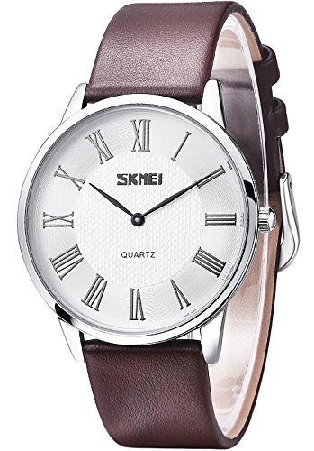 Inwet Herren Klassiker Quarz Armbanduhr mit Weiss Zifferblatt Analoge Anzeigen und Braun Leder Armband