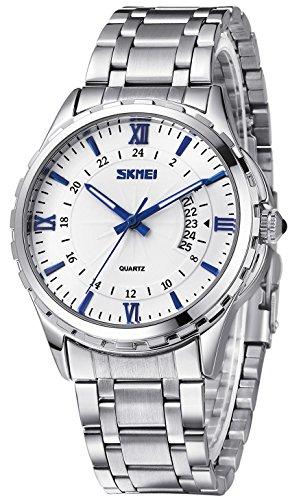 Inwet Herren Klassiker Quarz Armbanduhr mit Datum Anzeigen Weiss Zifferblatt Analoge Anzeigen und Silber Edelstahl Armband