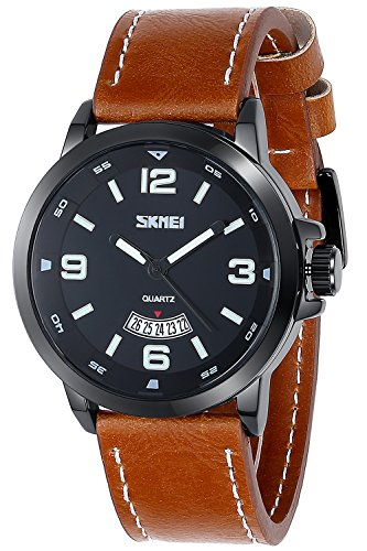 Inwet Klassisch Herren Quarz Armbanduhr Braun Leder Armband Schwarz Zifferblatt mit Datum