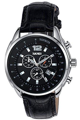 Inwet Klassisch Herren Schwarz Zifferblatt mit Datum Leder Armband