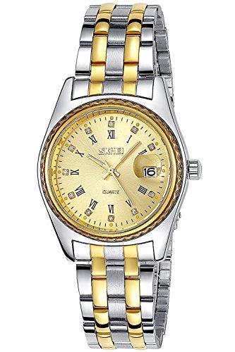 Inwet Klassisch Herren Quarz Armbanduhr Golden Zifferblatt Analoge Anzeigen Edelstahl Armband