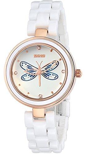 INWET Weiss Keramik Armband Armbanduhr fuer Damen 3D Libelle Zifferblatt Elegante Kristall Uhr
