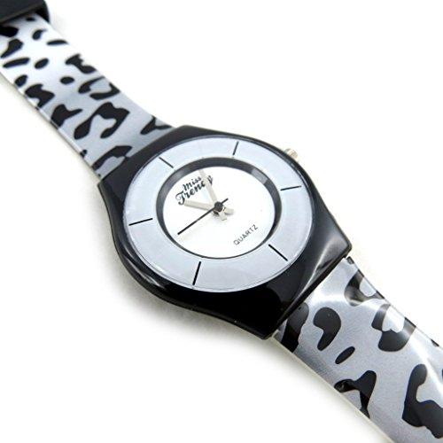 Armbanduhr fuer frauen Trendyblack leopard grau