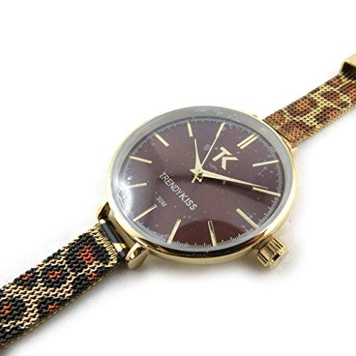 Armbanduhr fuer frauen Trendybrauner leopard goldfarben rosa