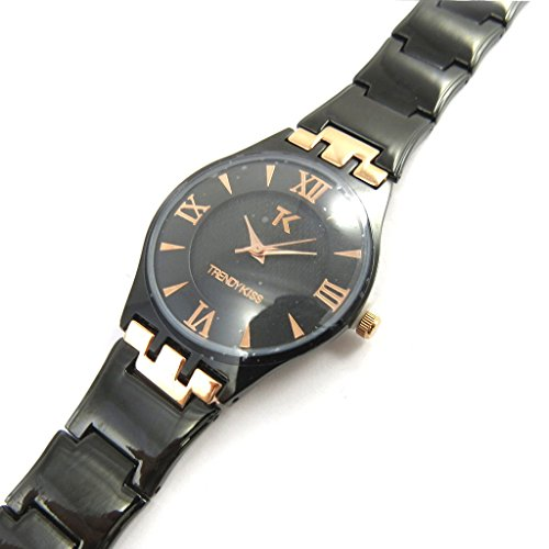 Armbanduhr fuer frauen Trendyschwarz goldfarben rosa