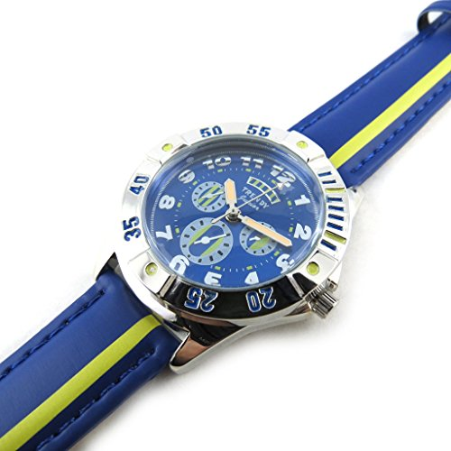 Armbanduhr kind Trendyblau gelb silberfarben