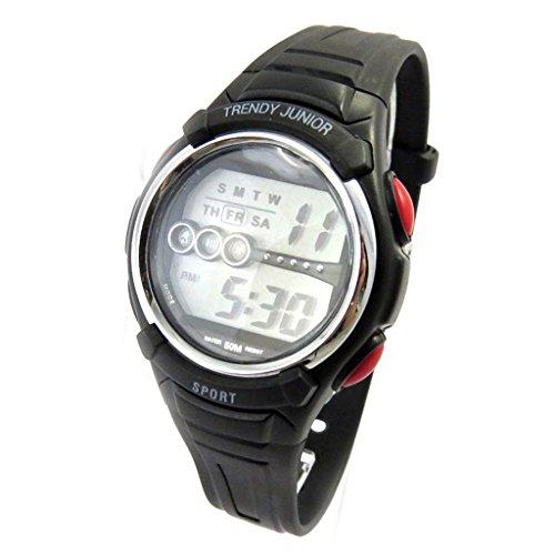 Armbanduhr silikon Trendyschwarz rot digital
