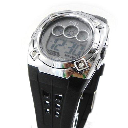 Armbanduhr sport Busy schwarz verchromt