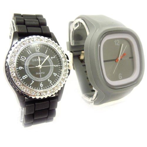 Set aus 2 armbanduhr Absoluschwarz grau